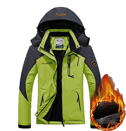 - Women's Warm Waterproof Ski Jacket, Fleece Lined Detachable Hood Winter Coat Outdoor Windproof Parka Fluorescent Green