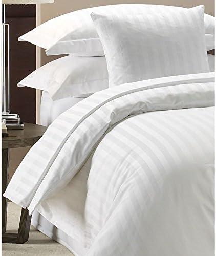 white Lenzuolo con angoli elasticizzati 100/% cotone egiziano 300/fili in raso bianco a righe Doppio