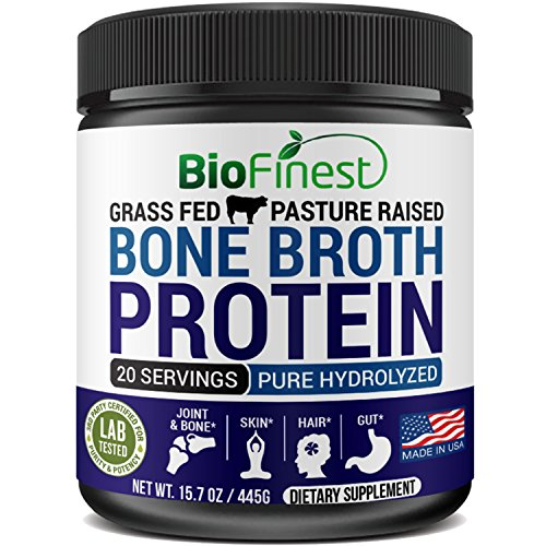 Biofinest Bone Broth Protein Powder - Collagen Peptides Unflavored - 100% Grass Fed Beef - Pure Hydrolyzed Organic Paleo Keto Diet Supplement - Healthy Skin Hair Joints Muscles Gut Digestion (15.7 oz)