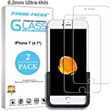 iPhone 7 Screen Protector, Glass Screen Protector for Apple iPhone 7 Tempered Glass, 10H Hardness, 0.2mm Ultra-thin, Proud-Focus 2-PACK Glass Screen Protectors for iPhone7 (4.7'')