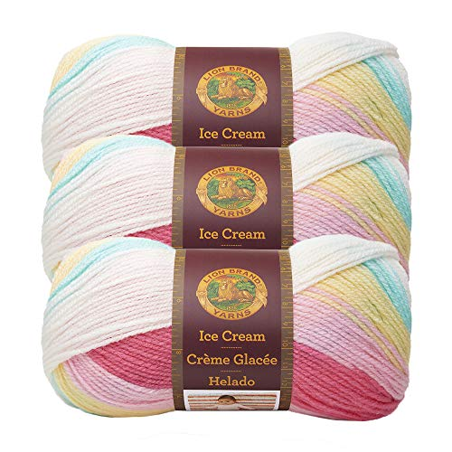 (3 Pack) Lion Brand Yarn 923-206AJ Ice Cream Yarn, Tutti Frutti
