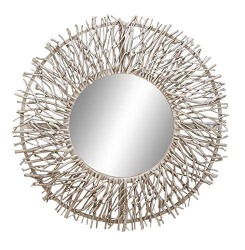 Deco 79 Contemporary Metal and Wood Round Framed Branch Design Wall Mirror, 31