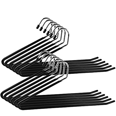 Set of 12 Ipow Heavy Duty Slacks/Trousers Hangers Open Ended hanger Easy Slide Organizers, Metal rod with a large diameter, Chrome and Black Friction
