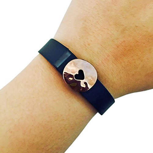 Charm to Accessorize the Fitbit Flex and Other Fitness Trackers - The HEART STAMP Metal Heart Charm to Dress Up Your Favorite Fitness Tracker (Rose Gold, Garmin Vivosmart)