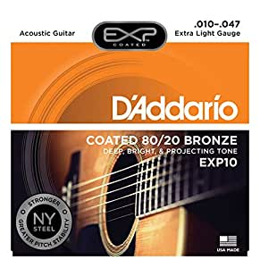 d 39 addario exp10 with ny steel acoustic guitar strings 80 20 coated extra light. Black Bedroom Furniture Sets. Home Design Ideas
