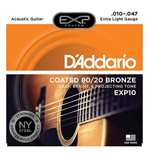 D'Addario EXP10 with NY Steel Acoustic Guitar Strings, 80/20, Coated, Extra Light, 10-47 ()