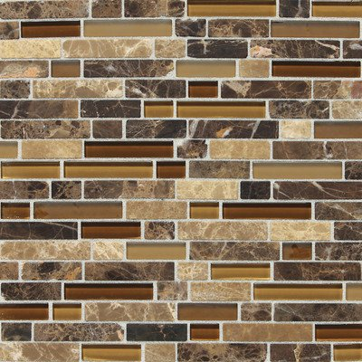 Daltile Stone Radiance Butternut Emperador 11-3/4 in. x 12-1/2 in. x 8 mm Glass and Stone Mosaic Blend Wall - Daltile Tile Wall