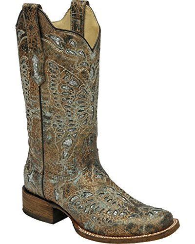 Corral Mujeres Metallic Bronze Glitter Mariposa Cowgirl Bota Square Toe - A2955 Bronce