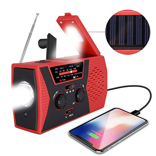 [2019 Upgraded Version] RegeMoudal Emergency Solar Hand Crank Radio, NOAA Weather Radio for Emergency with AM/FM, LED Flashlight, Reading Lamp, 2000mAh Power Bank and SOS Alarm (Hand Crank Usb Radio)