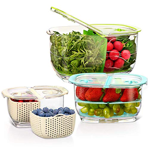 LUXEAR Produce Saver Veggie Fruit Storage Containers - 3 Piece Set BPA-free Food...
