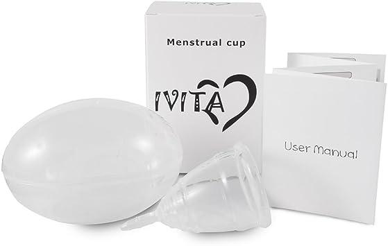 Ivita copas menstruales hembra reutilizable médicos silicona con funda de almacenamiento