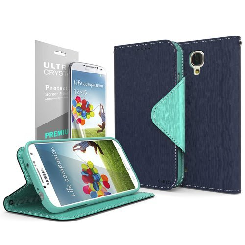 [S4 Active] Cellto GPL Samsung Galaxy S4 Active Premium Wallet Case [Slim Ultra Fit] [Navy Mint] Diary Cover /w ID Pocket Top Quality for Galaxy S IV Galaxy SIV i9500 - Galaxy S4 Active Full Wallet Case