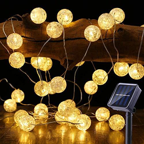 BrizLabs Lichtsnoer op zonne-energie, 50 leds, met kristallen bollen, warmwit, 7 m, 8 modi, IP65 waterdicht, verlichting…