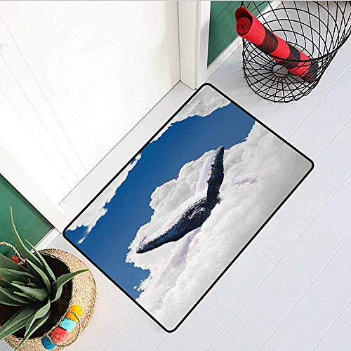 (GloriaJohnson Animal Universal Door mat Giant Creature of The Oceans Big White Whale Floats in Clear Open Sky Artwork Door mat Floor Decoration W31.5 x L47.2 Inch Blue and White )