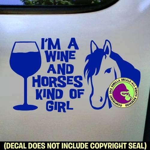 WINE /& HORSES GIRL Vinyl Decal Sticker B