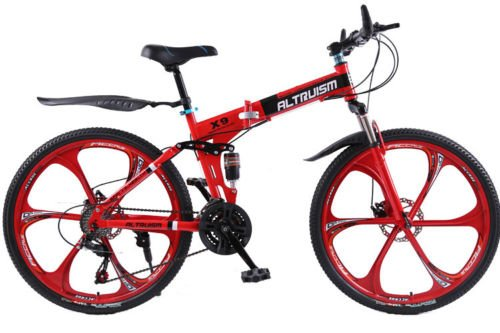 Hot Sales Altruism Xirui X9 Aluminum Mountain Bike 21 Speed 26 Inch Folding Bicycle Red