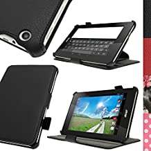 iGadgitz Premium Executive Black PU Leather Case Cover for Acer Iconia One 7 B1-730HD with Multi-Angle Viewing Stand + Hand Strap + Stylus Pen Elastic Holder + Screen Protector