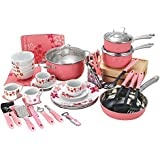 Veica,Highly Durable,59 Pieces Stainless-Steel Cookware Set,Kitchen Gadgets,Pink