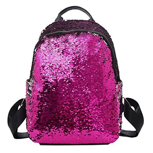 (Women Girls Bling Backpack,Realdo Solid Zipper Daypack Satchels School Shoulder Bag)