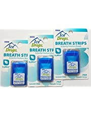3 Pack - Ice Drops Breath Strips with Blast of Icy Mint (Sugar Free) by OroLabs