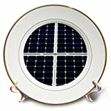 3dRose Alexis Photography - Objects - Dark blue solar power panel divided into four parts by white frames - 8 inch Porcelain Plate (cp_271345_1)