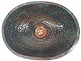 Egypt gift shops Rustic Old World Verde Pure Natural Copper Bath Washbasin PETITE Oval Sink House Kitchen Remodel