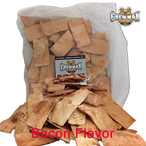 - ChewMax 2 Lb Bag of Premium Bacon Flavored Free Range Rawhide Chips