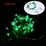 #10: Happy st.patrick's Day Party Decorations,Konsait Shamrock String Lights Battery Operated(13.2Ft, 40Llights, 2Modes) for Home Window Holiday St.patricks Day Party Favors Supplies