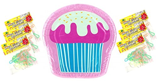 "96 Pieces Best Bulk Cupcake Dessert Paper Plates Kids Moms Party Decorations Party Supply Total of 96 8""x8"" Plates & 96 Glow in the Dark Animal Silly Bands Top Fall Back to School College Supplies"
