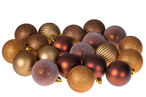 20 Piece Gold and Bronze Christmas Ornament Ball Set by Clever Creations | Festive Holiday Décor | Glitter, Gloss, Frost, Mirror Ball and Swirl Textures | Shatter Resistant | Hangers Included | 55mm Clever Christmas Ornaments