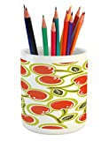 Ambesonne Fruit Pencil Pen Holder, Sweet Yummy Ornate Cherry and Leaves Pattern Fresh Food Fun Art Picture, Printed Ceramic Pencil Pen Holder for Desk Office Accessory, Apple Green Red White