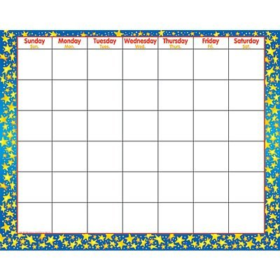 Trend Monthly Calendar - Star Brights Wipe-Off Calendar-Monthly by Trend Enterprises Inc