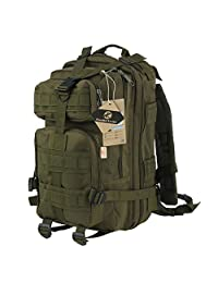 Koolertron Unisex Patrol Molle Assault Pack Canvas 25L Tactical Outdoor Sport Military Rucksacks Backpack Camping Hiking Trekking Bag With Laptop Compartment & Padded Shoulder Strap