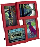 Umbra Pane Four-Opening Collage Picture Frame, Red
