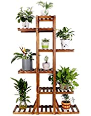 Tall Wood Plant Stand 6-Tiered Plant Flower Display Shelf Bonsai Pot Holder Garden Patio Bench Decor for Indoor Outdoor