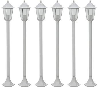 vidaXL 6x Farolas de Jardín Aluminio Color Blanco 110 cm Luz Iluminación Patio: Amazon.es: Iluminación