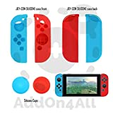 Nintendo Switch Case, Tempered Glass Screen Protector, Joy-Con Silicone Grips And Caps Red And Blue, 20 Games Storage Capacity.