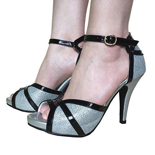 Peep Buckle Toes Black Heeled Sandals Glitter Silver Women's Dress getmorebeauty White qwptRff