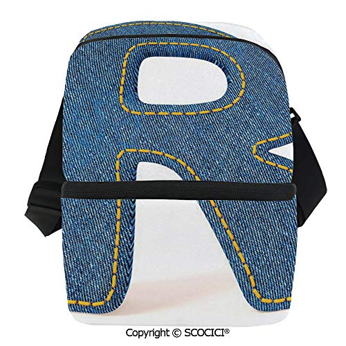 SCOCICI Insulated Lunch Cooler Bag Retro Denim Style Alphabet Font Pattern with Capital R Letter Blue Jean Design Decorative Reusable Lunch for Men Women Heat Insulation,Heat Protection