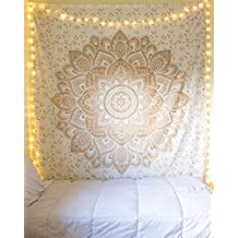 "Craftozone rses555571 Beautiful Ombre Heart Mandala Tapestry, 85"" x 90"", Golden"