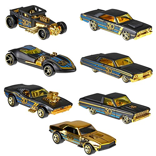 Hot Wheels 50th Anniversary Black and Gold Collection - Bone Shaker, Twin Mill, Rodger Dodger, 1968 Dodge Dart, 1964 Chevy Impala, 1965 Ford Ranchero, and Gold Chase 1967 Camaro