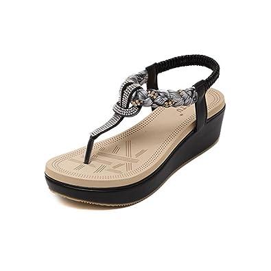 Boheme Chaussures Largeshop Talons Plateforme Ethniques Caoutchouc Compensées Couleur Élastique D'été Plage En Strass Femme Sandales Respirant m8v0wNnO