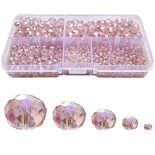 Chengmu 2-10mm Light Pink Rondelle Glass Beads for Jewelry Making AB Colour 710pcs Faceted Briolette Shape Crytal Spacer Beads Assortments Supplies for Bracelet Necklace with Elastic Cord Storage Box ()