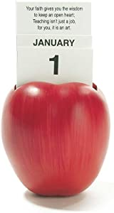 Dicksons Red Apple Shape Teacher Wisdom Red 4 x 6 Resin Table Top Figurine and Perpetual Calendar