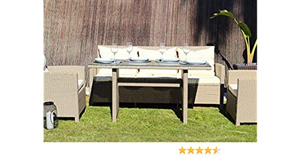 Kiefergarden Newyork Conjunto Comedor Muebles de jardín y Exterior en ratán sintético Premium Beige