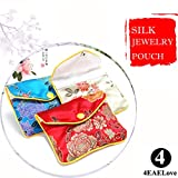 4EAELove Silk Jewelry Purse Pouch Gift Bags Multiple Colors Brocade Earring Storage Display Holder Case Organizer Gift Pack of 24