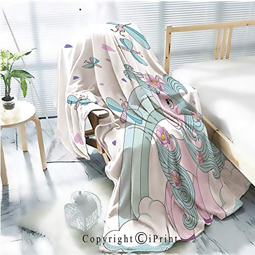 Printed Throw Blanket Smooth and Soft Blanket,Cute unicorn on a rainbow on a beautiful background with an inscription Vector illustration 8 For Sofa Chair Bed Office Travelling Camping,Kid Baby,W31.
