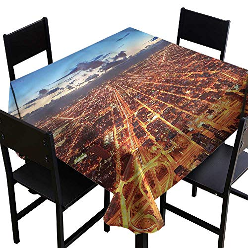 SKDSArts Party Table Cover City,Chicago Downtown Aerial,W50 x L50 Square Polyester Fabric -