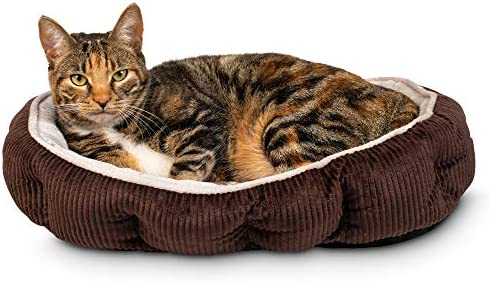 Simple Sleeper Self Warming Cute Calming Cat Bed With Ultra Soft Luxury Plush Including Refillable Catnip Pouch – Perfect for Indoor Cats