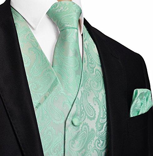 Brand Q Men's 3pc Paisley Vest-Mint-M (Mens Tuxedo Vest)